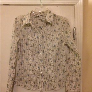 Abercrombie fitch white button up shirt floral